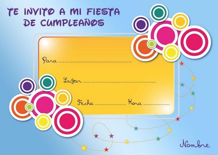 Invitaciones tarjetas para cumpleaños